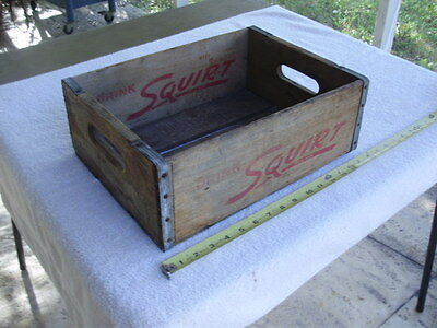 Vintage SQUIRT Wood Handled Box Slat Bottom MAHER - Metal Strap Corners OLD