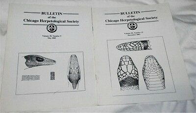 9 Issues of Bulletin of the Chicago Herpetological Society Vol.38-2003 REPTILES+