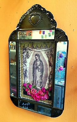 Authentic Mexican Folk Art Antiqued Mirrored Nicho Sepia Image Virgin Guadalupe