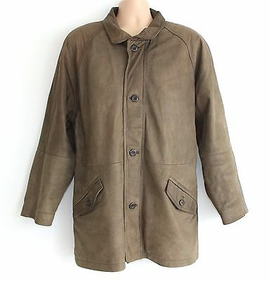 Brown 100% Real Leather BLUES Hip Length Quilted Lining Men's Coat Jacket size L