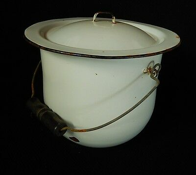 Vintage Enamel-ware Chamber Pot Commode w/wire bail wood handle & lid