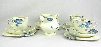 Vintage Tuscan China Cups & Saucers Set of 4 Trios Forgetmenot ? Hand Painted