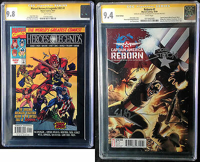 lot 2 CGC ss 9.8 Marvel Heroes and Legend 1 signé Stan Lee + Captain America 2