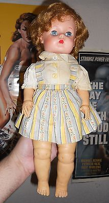 """RARE 1950's Old Vintage Rubber 17"""" Baby Girl Doll W/Hair Shirt Dress AS IS NR"""