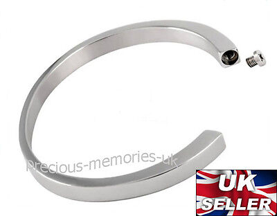 Memorial Keepsake Ashes Cuff Bangle Funeral Cremation Jewellery Ash Urn Bracelet