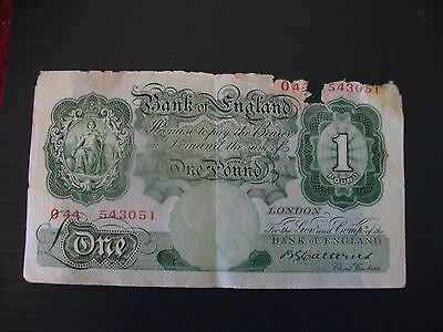 £1 Bank of England  Catterns 1930 note damaged