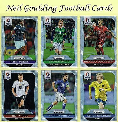 Panini Euro PRIZM 2016 SILVER PARALLEL Football Cards #1 to #250