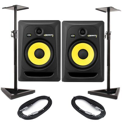 KRK Rokit RP8 G3 Black 8 Inch Studio Monitors Pair With Speaker Stands & Cables