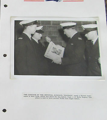 BW Photo British Imperial airways Seaplane Caribou Pilot Captain JC Kelly Rogers