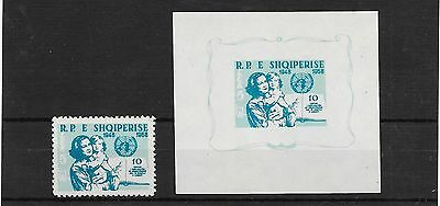 Albania 1959 10th Anniv of declaration of human rights MS + stamp mnh