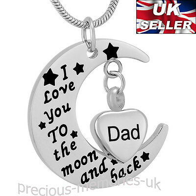 Dad Heart Ashes Necklace - Funeral Cremation Jewellery Memorial Ash Urn Pendant
