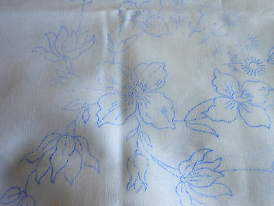 New Tablecloth Embroidery Design Traced Wild Roses White Cotton Sq Sew Project