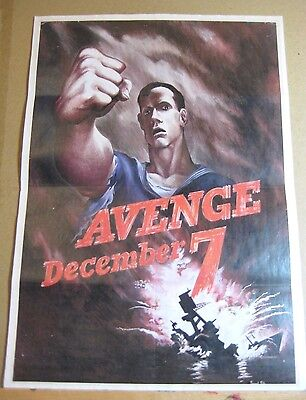 "WW2 Era  US War Effort Poster  ""Remember December 7th!""  Great Condition!"