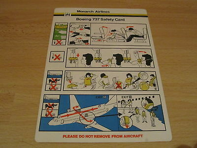Monarch Airlines Boeing 737 safety card RARE