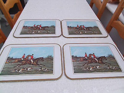 4 Large Table/placemats Serving Mats Hunting Horse Scene