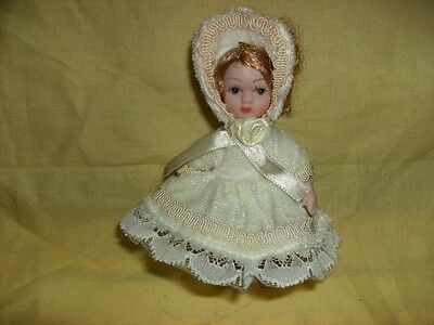 Doll Small Porcelain Arms Legs Move Bonnet Dress Curly Hair Adorable Collectible