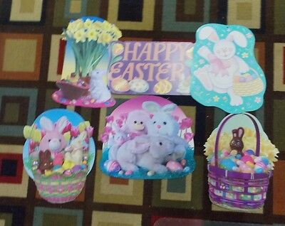 Laminated Easter Wall Decorations Set of 5 Bunnies, Ducks, Baskets