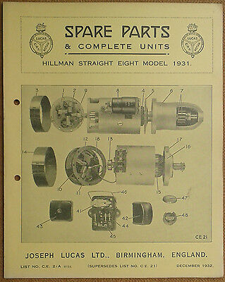 Hillman Straight Eight 1931 Lucas Parts List 21A  Others available