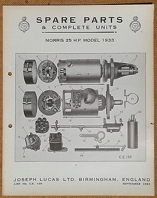 Morris 25hp model of 1933   Lucas Parts List 130   Others available