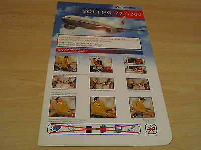 Malaysia Airlines Boeing 777-200 safety card