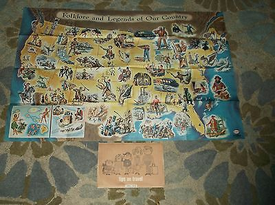 Vintage Esso Humble Oil & Refining Folklore And Legends Map Our Country