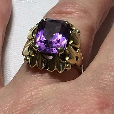 Vintage 14ct 14k Amethyst Natural LARGE Chunky GOLD Ring Fancy Mount Size Q 5.9g