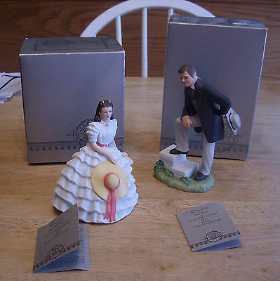 SCARLET O'HARA, RHETT BUTLER figurines, Gone With The Wind, boxed with tags