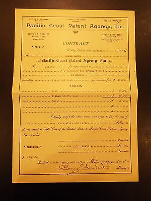 Pacific Coast Patent Agency Contract for Patent Attachments for Typewriters 1913