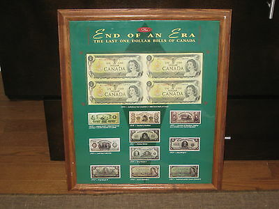 """Framed Canadian """"End of an Era"""" The Last One Dollar Bills Of Canada Uncirculated"""