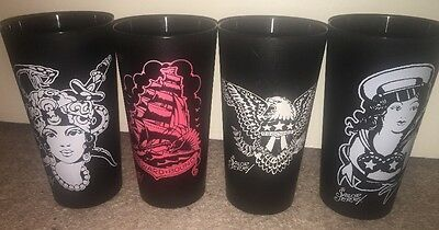 Set Of Four (4) Sailor Jerry Spiced Rum Black Plastic Glasses Tumblers Cups NEW!