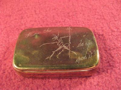 Trick Opening Brass Vesta Case, probably late 19th C, Victorian
