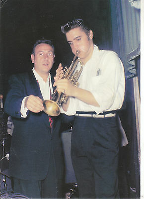 ELVIS PRESLEY 21x30 cm color photo card with ELVIS PLAYING THE TRUMPET