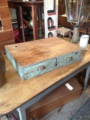 Antique Early Primitive 2 Drawer Cupboard Table Top Bin Old Green Paint Country