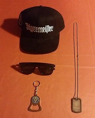 Jagermeister Hat, Sunglasses, Dog Tags, and Bottle Opener Key Chain - Brand New!