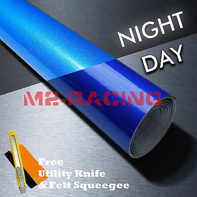 *Reflective Blue DIY Vinyl Car Wrap Sticker Decal Graphic Sign Adhesive Film