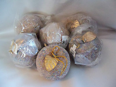 "Apples Lot 6 Beaded Sparkle Grey Silver Gold Leaf 3"" Christmas Tree Ornament New"