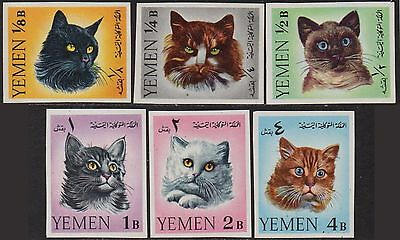 YEMEN 1965 Cats (set of 6 imp) MNH