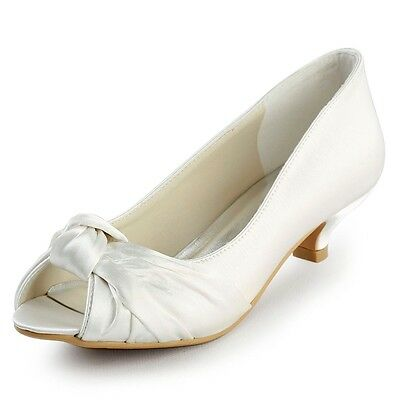 EP2045 White Peep Toe Low Heels Prom Pumps Knot Satin Wedding Bridal Shoes US 4