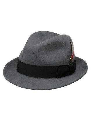 Jake Crushable Pinchfront Fedora Hat in Grey with Black Band