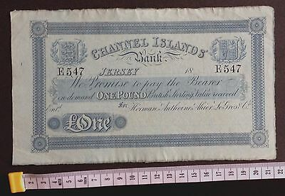 Around 200 Year Old Channel Islands Bank, Jersey Rare Type £1 E547 On Blue Paper