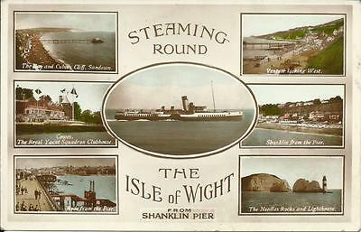 Steaming Round Isle Of Wight From Shanklin Pier Paddle Steamer/ferry Postcard