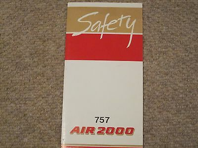 Air 2000 Airline Safety Card