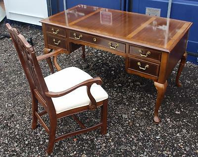 Mahogany Writing Desk & Chippendale Style Carved Armchair