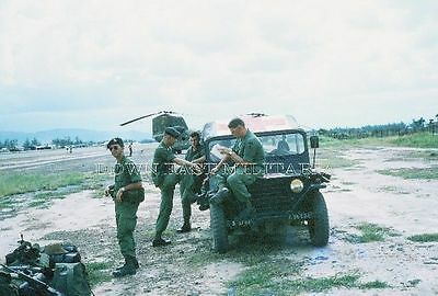 """Vietnam War 5th Special Forces QUANG NGAI Air Strip Photo 5""""x7"""" from 1970 slide"""