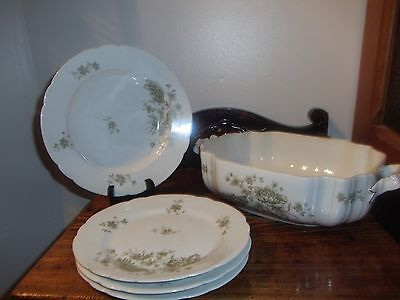 Antique Leonard Vienna Austria Lot Of Bone China 5 Pcs.