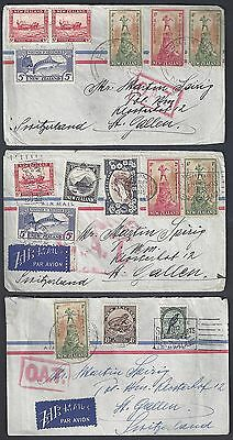 New Zealand 1945 Three Oat Air Mail Covers Multi Franked East Faiwaki To St Gall