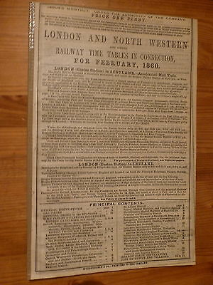 London & North Western Railway Time Table  - February 1860