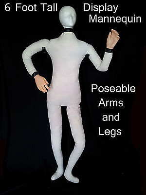 6 Ft TALL DISPLAY POSEABLE Bendable Canvas MANNEQUIN Dummy Doll Prop 6SW170119