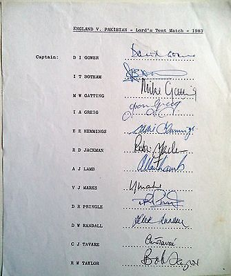 ENGLAND v PAKISTAN 1983 LORD'S TEST – CRICKET OFFICIAL AUTOGRAPH SHEET