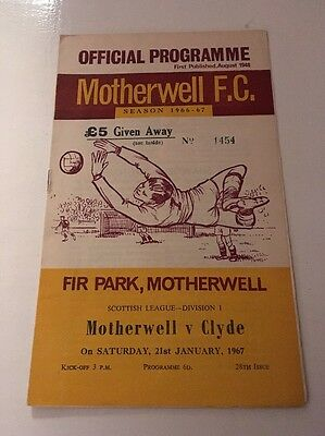 MOTHERWELL v CLYDE Football Programme 21st January 1967